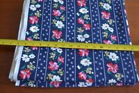 """By-the-Half-Yard, 57"""" Wide, Vintage Floral on Navy Cotton, M3740"""