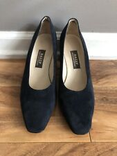 BALLY Made In Switzerland Navy Blue Suede Low High Heel Pump SIZE 6