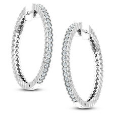 Women's 9ct White Gold Ladies 0.32ctw Diamond Hoop Earrings Jewelry Hallmarked
