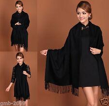 New Winter Women's Pure Black Soft Warm Pashmina 100% Cashmere Shawl Scarf Wrap