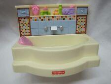 NEW! FISHER PRICE Loving Family Dollhouse BATHROOM BATHTUB Bath Tub Mosaic Tile