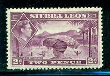 SIERRA LEONE 176 SG191 MH 1938-44 2p mauve KGVI Rice Harvesting Cat$30