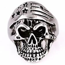 Cody: EZ Rider Rocker Skull Ring w Patriotic Biker Bandana 316L Steel Ring