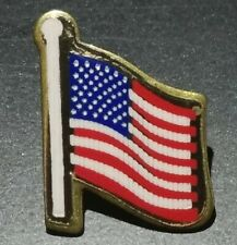 American Flag Gold Tone Pin Hat Tie Tack Union USA Made Memorial Day 4th of July