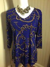 SUSAN GRAVER Women's Medium Royal Blue Tunic Blouse