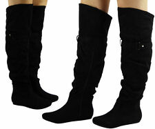 Flat (less than 0.5') Faux Suede Knee High Boots for Women