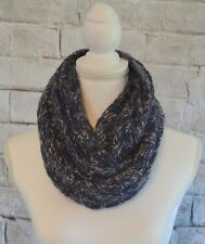 Blue White Knitted Infinity Scarf Women's One Size