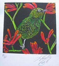 "LYNN KEATING AUSTRALIAN INK LINOCUT HAND COLOUR ""GREEN BIRD"" 2015 LTD ED A/P"