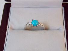 SWAN Swarovski Blue Turquoise Crystal Rhinestone sz 4.5 Silver Ring 11d 96