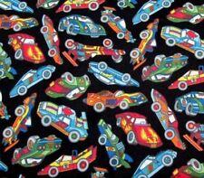 RACE CAR Fabric - Nascar RACING - Hot Rod Toss - Cotton DIY Craft Quilt - BTY