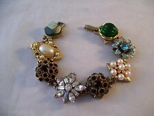 Repurposed Vintage Jewelry Bracelet Rhinestones OOAK Gold Hand Made Unique II