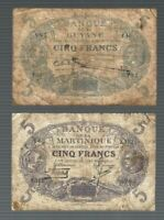 Martinique, Guyane ✨ 5 Francs x 2 pieces Banknote ✨ Collections & Lots #1202