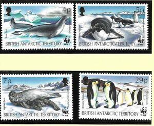 British Antarctic Territory 1992 WWF Endangered Species 4 Values