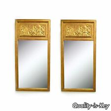 Pair of Vintage Italian Gold Gilt Classical Greek Scene Wall Console Hall Mirror