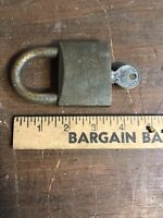 Vintage Antique Wally Brass Lock & Key —Works
