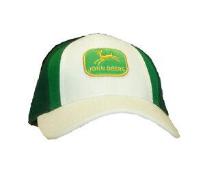 Einzelstück John Deere Cap Vintage Weiß+Grüntöne 7 1/4 Unisex Fitted Mütze