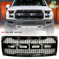 For 16 18 Ford F150 Front Upper Hood Grill Raptor Style Gloss Black Grille W/LED