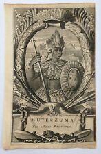 MOCTEZUMA II (MONTEZUMA) 1671 MONTANUS RARE ANTIQUE ENGRAVED PLATE 17TH CENTURY