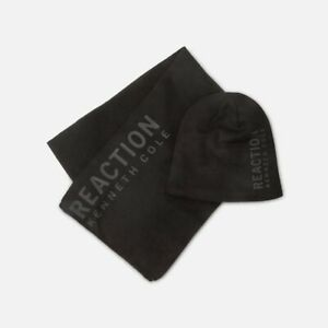 Kenneth Cole Men's Beanie and Scarf Set, Black