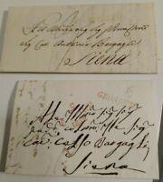 1832 230) DUE PREFILATELICHE DA GROSSETO A SIENA CON TIMBRO 'GROSSETO' IN ROSSO