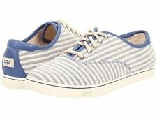 UGG Women Size 6 8 8.5 Flat Lace Up Striped Blue Sneakers navy Eyan II Shoes New