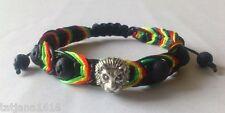 Rasta Color Shamballa Handmade Adjustable  with lava bracelet Nylon Cord
