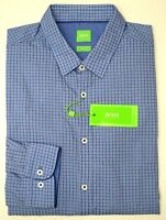 NWT $135 Hugo Boss Blue Plaid Shirt LS Mens XL XXL C-Bia 50369841 423 Slim Fit