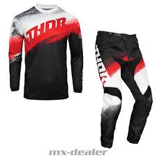 2021 Thor MX Sector Vapor Schwarz Rot Cross Jersey Hose Combo Motocross Enduro