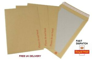 NEW HARD CARD BOARD BACK BACKED 'PLEASE DO NOT BEND' ENVELOPES  BROWN