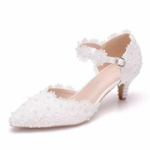 BEAUTIFUL Wedding White Ivory Lace Party Bridal Bridesmaid Mid Heels shoes