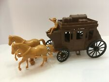Vintage Processed Plastics Stagecoach with Cowboy Driver & Horses Brown Tan