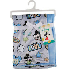 Disney Mickey Mouse Mink and Sherpa Double Sided Infant Blanket Fleece Throw