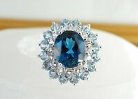 Large Carol Brodie Rarities London White Blue Topaz Sterling Silver Ring Size 7