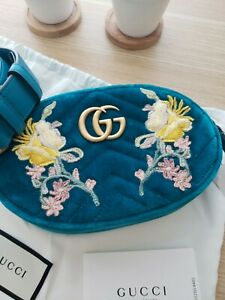 ♡NWT Gucci GG Marmont 2.0 Embroidered Velvet Belt Bag Fanny Pack WaterGreen sz85