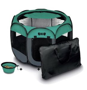 Ruff 'n Ruffus Portable Foldable Pet Playpen Carrying Case and Travel Bowl, MED