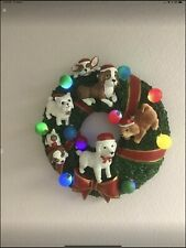 Light Up Dog Breed Christmas Wreath. NEW In Box.