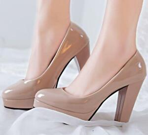 Women Platform High Heels Patent Leather Block Heel Shoes Party Round Toe Sandal