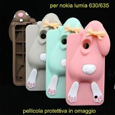 CUSTODIA COVER CASE NOKIA LUMIA 630 635 SILICONE 3D animali coniglio + pellicola