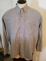 Eddie Bauer Men's Outdoor Shirt Long Sleeve Button Front Blue White Plaid Sz. XL