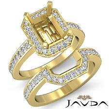 Diamond Radiant Cut Semi Mount Engagement Ring Bridal Set 14k Gold Yellow 1.1Ct.