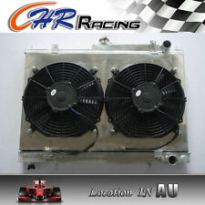 For NISSAN SKYLINE R33 R34 RB25DET GTS-T Aluminum Radiator & Shroud & Fans
