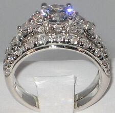 EXQUISITE 2.93 CT. CZ Platinum EP Bridal Wedding Engagement Ring Set - SIZE 5