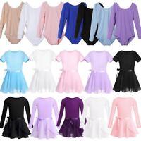Girls Gymnastics Dance Dress Ballet Leotards with Tutu Skirt Dancewear Costume