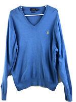 Polo Ralph Lauren Sweater Mens XL Blue V Neck Pullover Pima Cotton Horse Euc