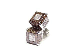 14k White Gold 6.00ct White & Red Princess Cut Diamond 3D Square Cube Earrings