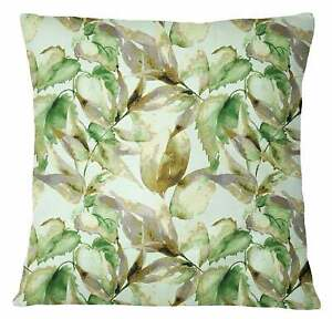 S4Sassy Decorative Leaf Print Green Designer Square Cushion Cover-AJi