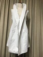 Issey Miyake White Jacket Long Gilet Dress Top Pleats Please