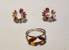 Citrine Earrings & Size 6.25 Sterling Silver Natural Baltic Amber Ring set