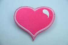 PRETTY PINK LOVE HEART 6cm Embroidered Sew On Cloth Patch Badge APPLIQUE SEW