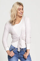 DIVADAMES Womens Ladies Fine Knit Cropped Tie Up Cardigan Stretchy Shrug